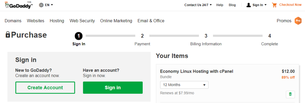 GoDaddy Checkout